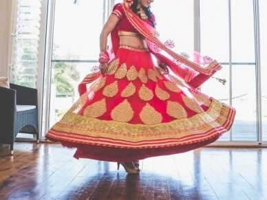 Her lehenga opened up like a blossoming flower